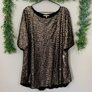 NWT Gibson Latimer Gold Sequin Top
